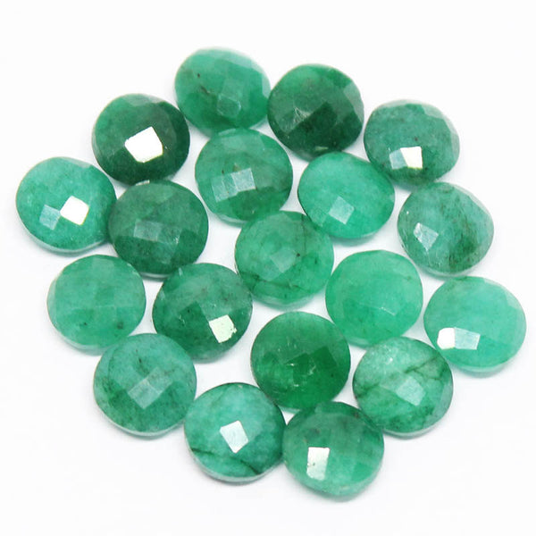 Natural Green Emerald faceted coin beads pair, 2 pairs, 8mm, SKU1087/S - Jewels Exports