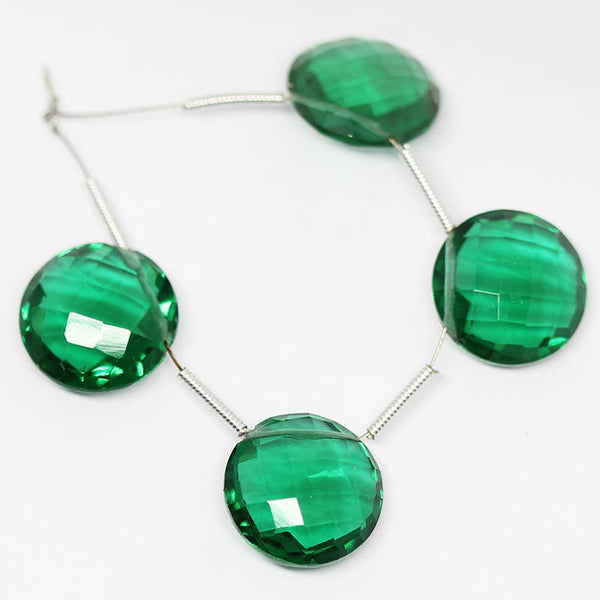 Green Emerald Quartz faceted coin gemstone beads pairs, 2 matching pairs, 10mm, SKU2643/S - Jewels Exports