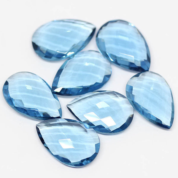 Long Blue Topaz Quartz Faceted Pear Drops Briolette Beads - 22x15mm Pair - 1 Pair, SKU2106/S - Jewels Exports