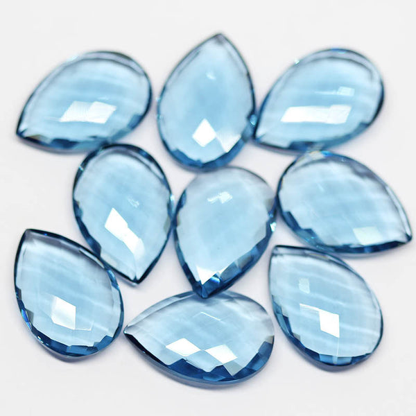 London Blue Topaz Quartz Faceted Pear Drops Briolette Beads - 22x15mm Pair - 1 Pair, SKU2125/S - Jewels Exports
