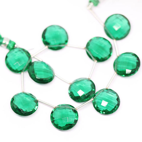 Green Emerald Quartz faceted coin gemstone beads pairs, 5 matching pairs, 10mm, SKU2639/S - Jewels Exports