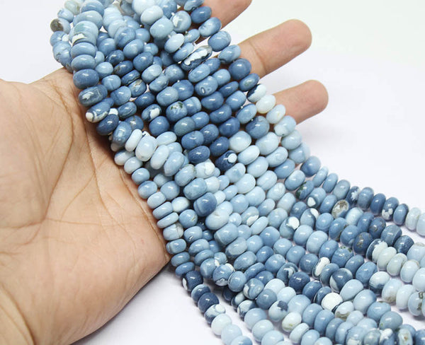 Natural Blue Opal Smooth Polished Rondelle Beads Strand, 18 inches, 7-9mm, SKU/J - Jewels Exports