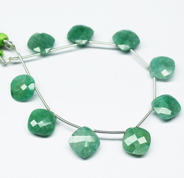 Green Emerald Faceted Checker Square Briolette Beads Strand, 6 Inches, 12-13mm, SKU2146R - Jewels Exports