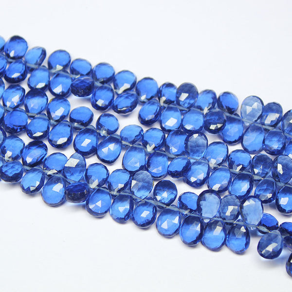 Kashmir Blue Quartz Faceted Pear Drop Briolette Beads Strand, 8 Inches, 19-10mm, SKU4309/J - Jewels Exports