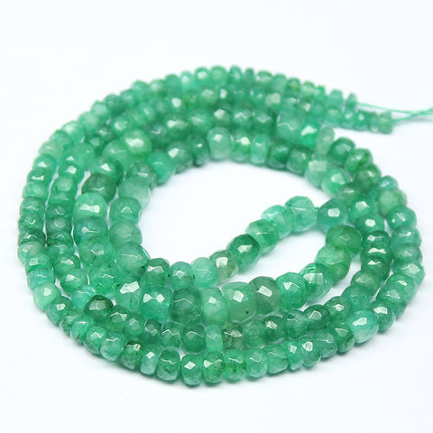 Green Emerald Faceted Rondelle Beads Strand, 16 Inhces, 3-5mm, SKU5470R - Jewels Exports