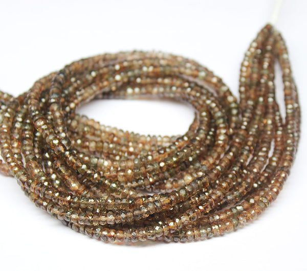 Andalusite Faceted Rondelle Beads Strand, 13.5 inches, 4mm, SKU8810A - Jewels Exports