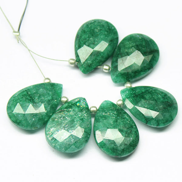 Green Emerald Faceted Pear Drop Briolette Beads, 6 Beads, 21-22mm, SKU6788/F - Jewels Exports