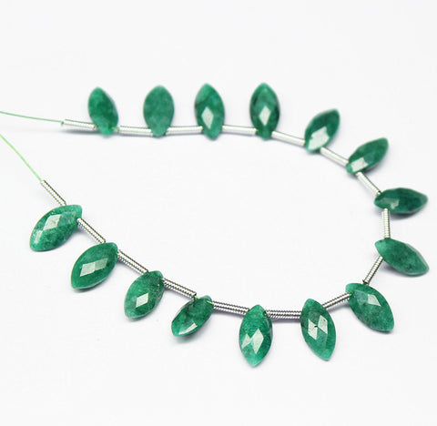 Green Emerald Faceted Marquise Briolette Beads Strand, 5 Inches, 9-10mm, SKU2170R - Jewels Exports