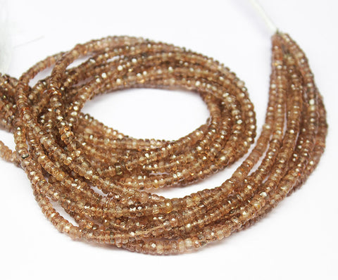 Andalusite Faceted Rondelle Beads Strand, 13.5 inches, 3.5mm, SKU8808/F - Jewels Exports