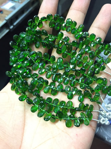 100 ct Chrome Diopside Faceted Pear Drop Briolette Beads Strand - Jewels Exports