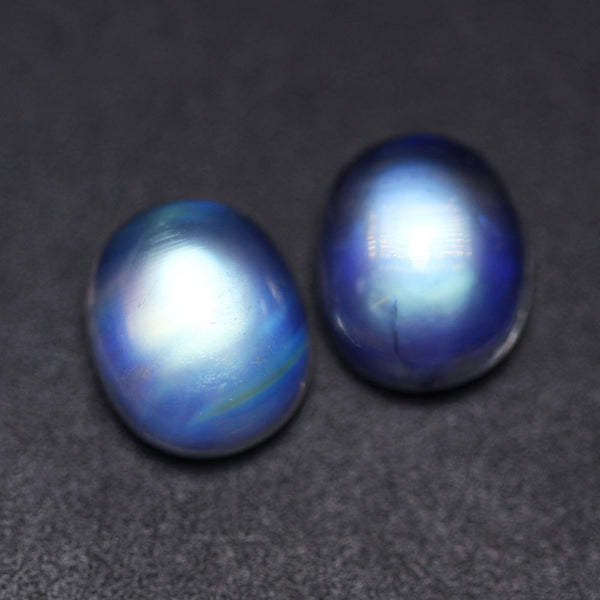 1pc AAA Rare Blue Rainbow Moonstone Smooth 12x10mm Oval Cabochon Loose Gemstone
