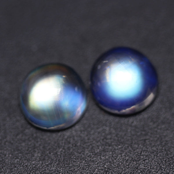1pc AAA Rare Blue Rainbow Moonstone Smooth 8x8mm Round Cabochon Loose Gemstone