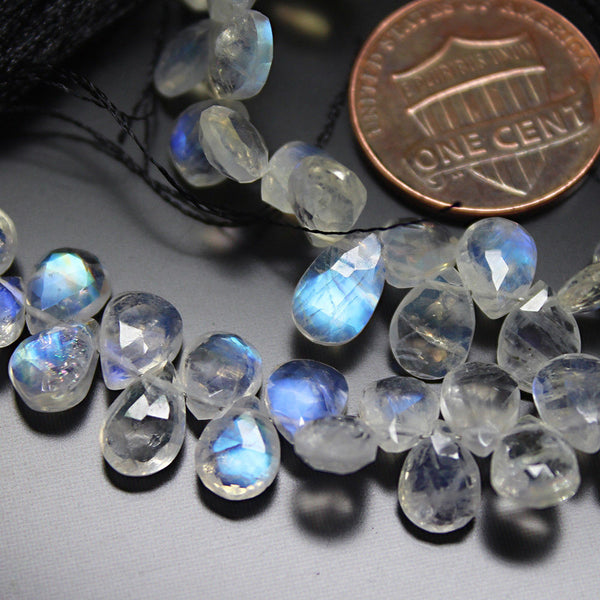 Rainbow Blue Fire Moonstone Faceted Pear Drop Gemstone Loose Bead Strand 8