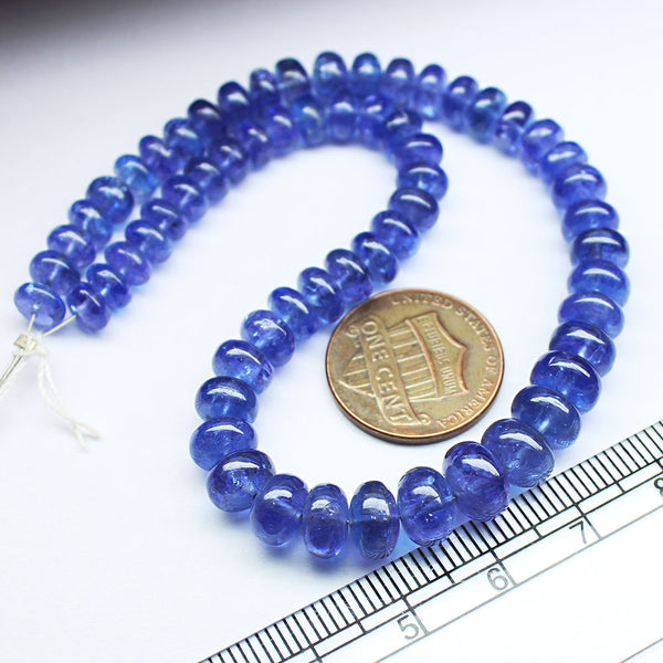 Rare Blue Tanzanite Smooth Rondelle Gemstone Loose Craft Bead Strand 10
