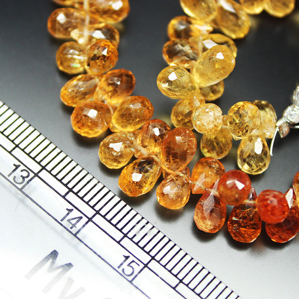 Orange Imperial Topaz Faceted Briolette Tear Drop Gemstone Bead Strand 7