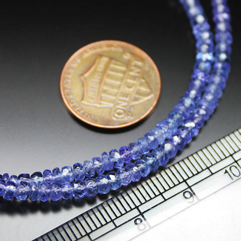 Blue Tanzanite Micro Faceted Rondelle Gemstone Loose Craft Beads Strand 14