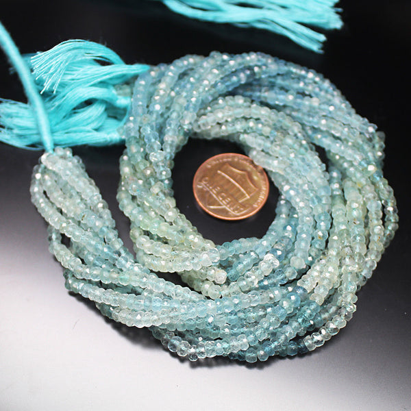 Shaded Blue Aquamarine Faceted Rondelle Gemstone Loose Bead Strand 14
