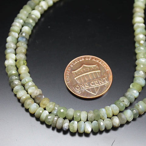 Chrysoberyl Cats Eye Faceted Loose Rondelle Gemstone Beads Strand 18