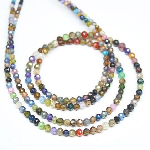 Multi Zircon Micro Rondelle Faceted Loose Cut Gemstone Beads Strand 14