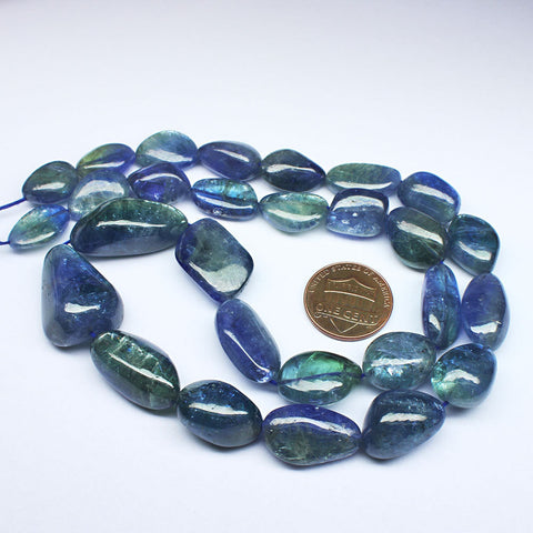 Natural Blue Tanzanite Smooth Nugget Tumble Beads Jewelry Necklace 18