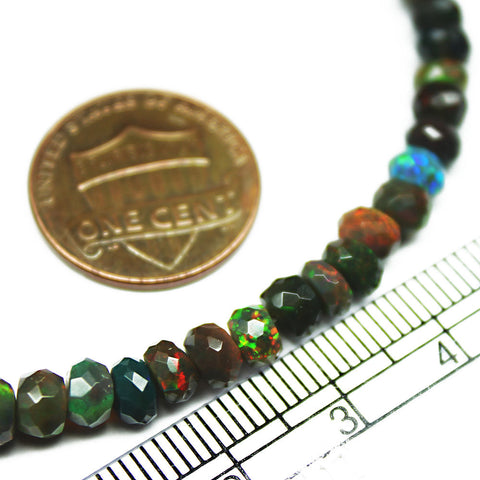 Fire Black Opal Faceted Rondelle Gemstone Loose Craft Beads Strand 8