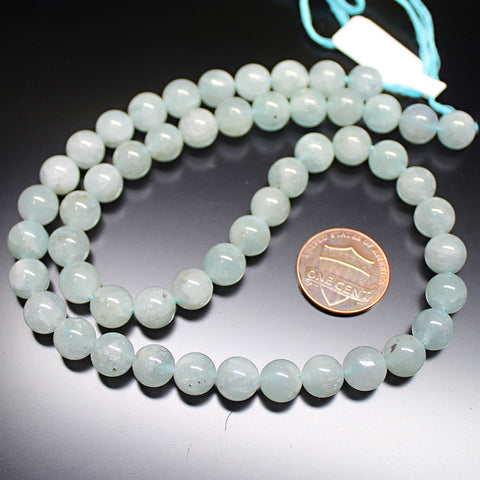 Natural Blue Aquamarine Loose Gemstone Craft Smooth Round Beads Strand 16