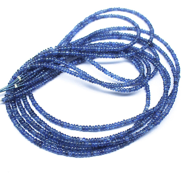 5 Strand Natural Water Sapphire Iolite Smooth Rondelle Gemstone Bead 16