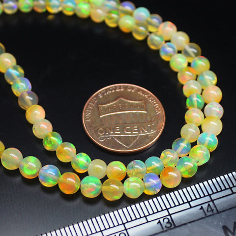 Ethiopian Welo Opal Smooth Gemstone Round Ball Loose Craft Beads Strand 16