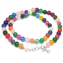 Natural Multi Color Jade Smooth Round Ball Gemstone Loose Beads Necklace 18