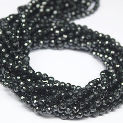 Black Spinel Micro Faceted Gemstone Loose Rondelle Cut Beads Strand 4mm 13