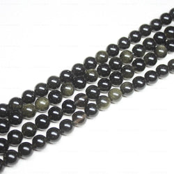 Natural Black Rainbow Obsidian Smooth Round Ball Gemstone Beads Strand 15