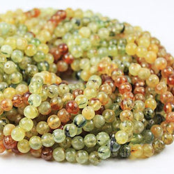 Natural Multi Prehnite Smooth Ball Round Loose Gemstone Beads Strand 13