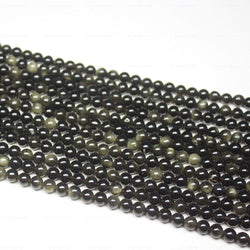Natural Black Obsidian Smooth Round Ball Loose Gemstone Beads Strand 15