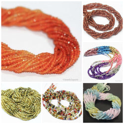 Natural Multi Precious Gemstone Micro Faceted Cut Rondelle Loose Beads Strand