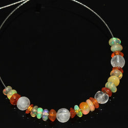 Carnelian Moonstone Welo Ethiopian Opal Smooth Rondelle Beads 3mm 4mm 4.4ct 2