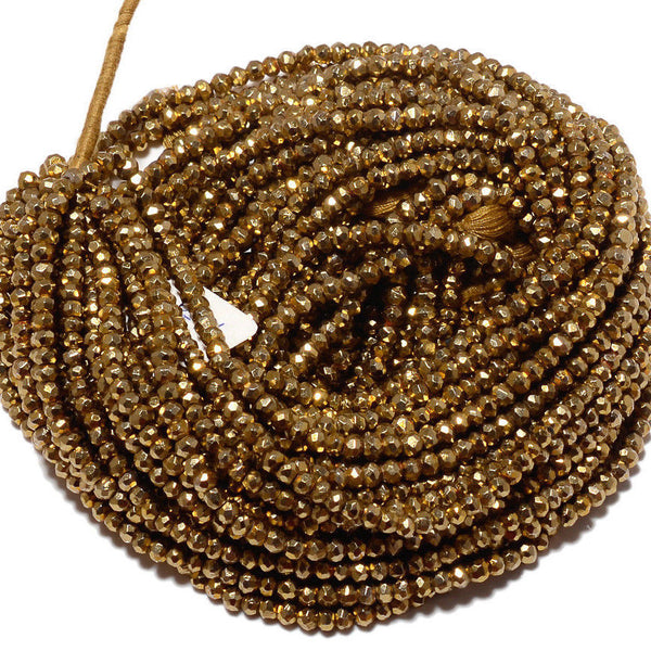 "5 strands Natural Gold Pyrite Faceted Rondelle Gemstone Beads Strand 14"" 3mm 4mm"