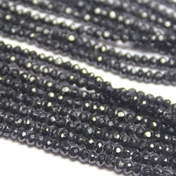 Black Spinel Micro Faceted AAA Gemstone Loose Cut Rondelle Beads Strand 14