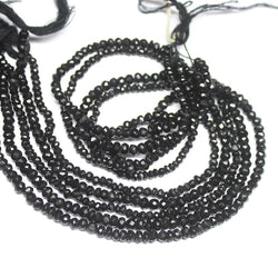 Natural Black Spinel Faceted Rondelle Loose Gemstone Beads Strand 4mm 14