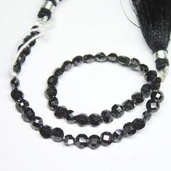 Natural Black Zircon Faceted Round Coin Spacer Gemstone Loose Beads 5mm 8