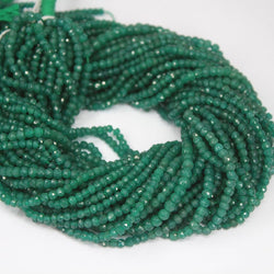 Green Jade Micro Faceted Rondelle Loose Gemstone Cut Beads Strand 3.5mm 13