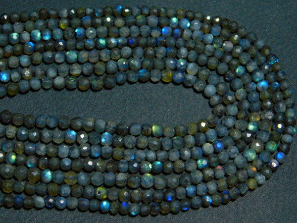 "2 Strands Natural Labradorite Faceted Round Ball Gemstone Spacer Beads 13"" 3.5mm"