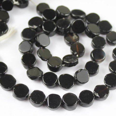 10 Strand Black Spinel Smooth Coin Round Loose Gemstone Spacer Beads 8mm 9mm 14