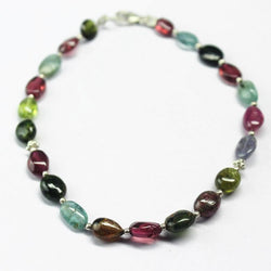 Multi Tourmaline Smooth Oval Loose Gemstone Beads Bracelet Jewellery 8mm 6mm 7