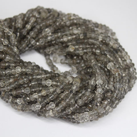 10 Strand Lot Black Rutile Quartz Faceted Rondelle Gemstone Loose Beads 13