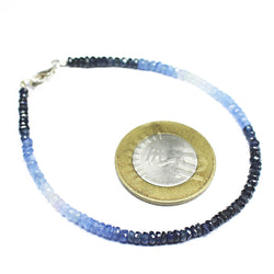 20 Cts+ Natural White Blue Sapphire Rondelle Beads Silver Clasp Bracelet 7.5
