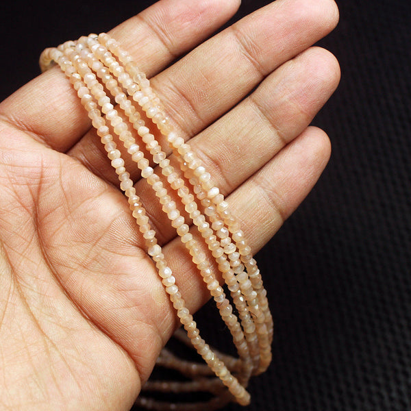 "2 Strand Natural Pink Moonstone Faceted Rondelle Gemstone Loose Beads 17"" 3mm"