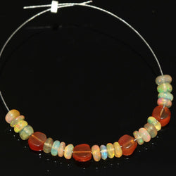 Carnelian Ethiopian Welo Fire Opal Smooth Rondelle Loose Beads 4mm 3mm 4.25ct 2
