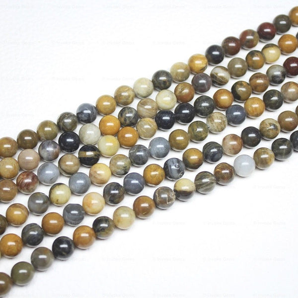 "5 Strand Natural Multi Wood Agate Smooth Round Ball Loose Beads 15"" 8mm"