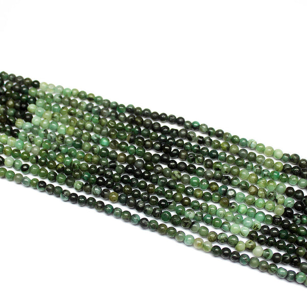 "5 Strand Natural Emerald Smooth Round Gemstone Loose Beads 14"" 4mm"