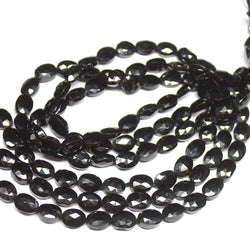 Natural Black Spinel Faceted Oval Loose Gemstone Beads Strand 8mm 14